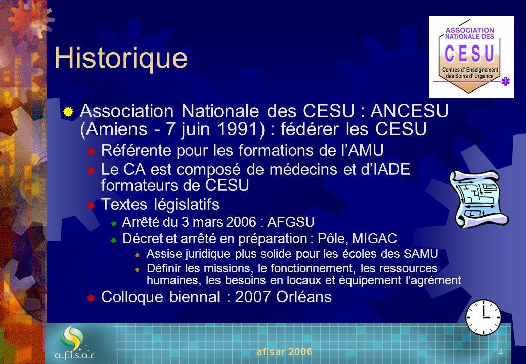 afisar 2006 4 Historique Association Nationale des CESU : ANCESU (Amiens - 7 juin 1991) : fédérer les CESU Référente pour les formations de lAMU Le CA