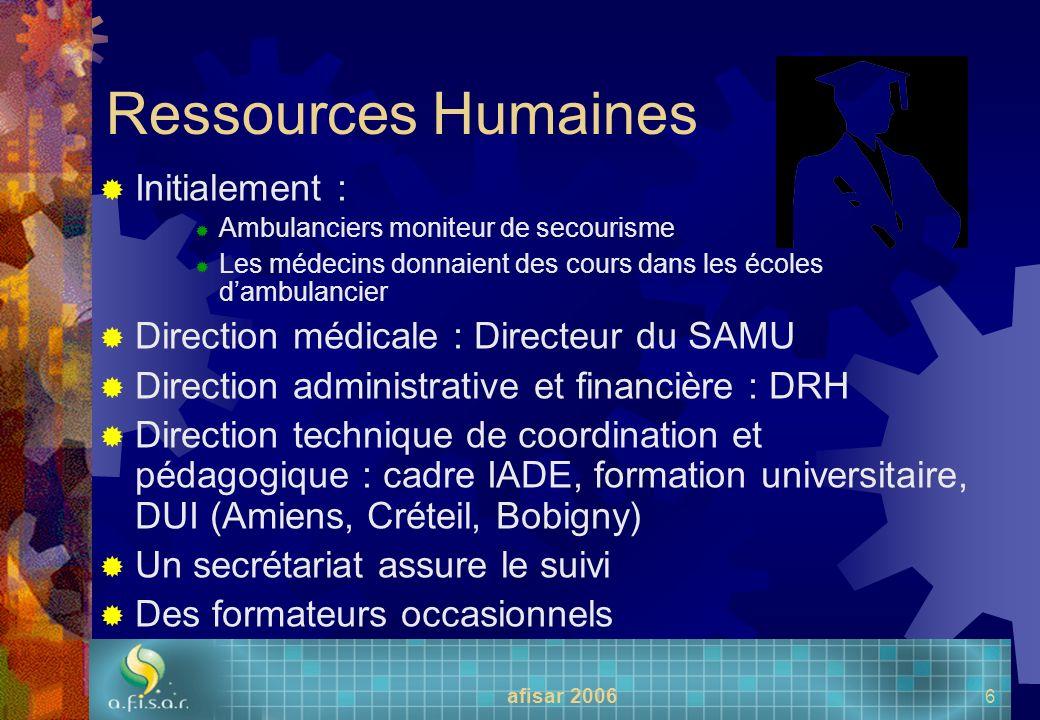 afisar 2006 6 Ressources Humaines Initialement : Ambulanciers moniteur de secourisme Les médecins donnaient des cours dans les écoles dambulancier Dir