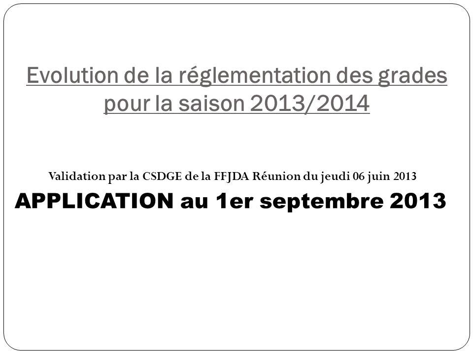Evolution de la réglementation des grades pour la saison 2013/2014 Validation par la CSDGE de la FFJDA Réunion du jeudi 06 juin 2013 APPLICATION au 1er septembre 2013
