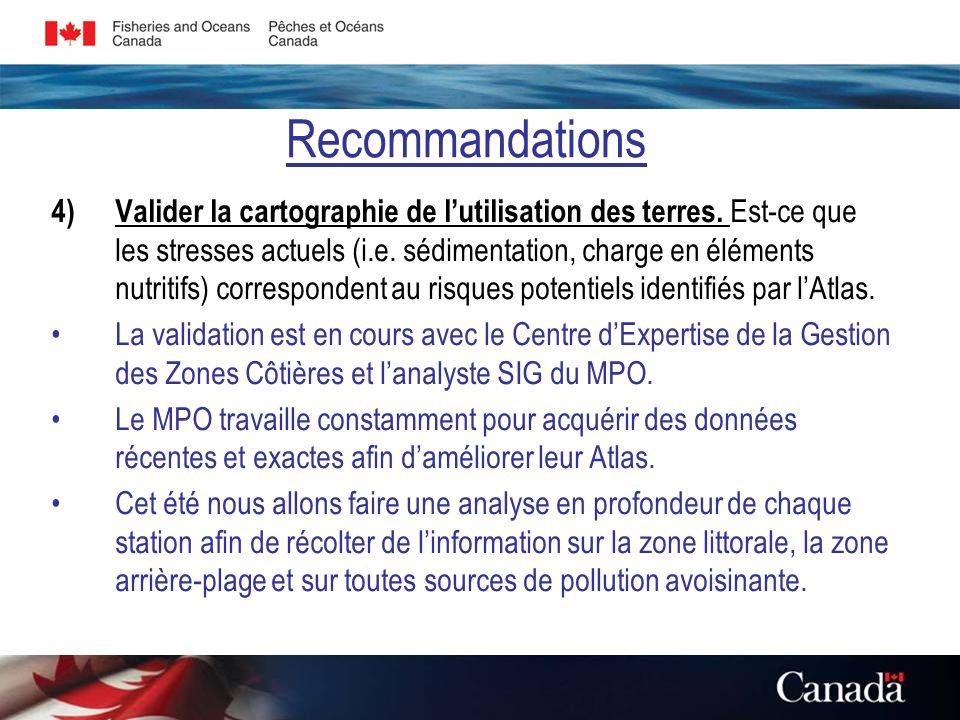 Recommandations 4)Valider la cartographie de lutilisation des terres.