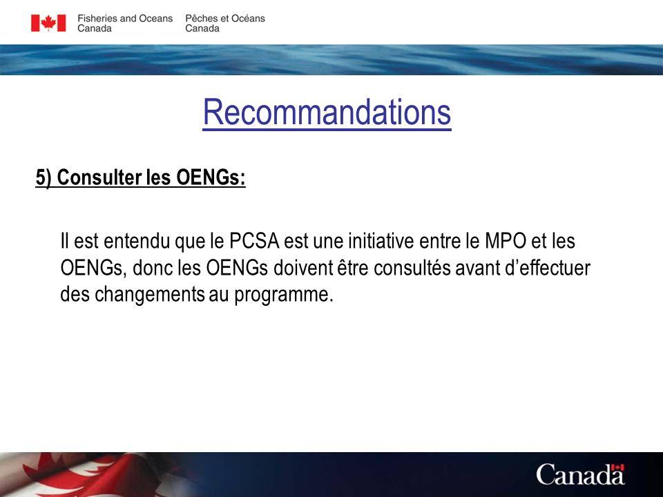 Recommandations 5) Consulter les OENGs: Il est entendu que le PCSA est une initiative entre le MPO et les OENGs, donc les OENGs doivent être consultés avant deffectuer des changements au programme.