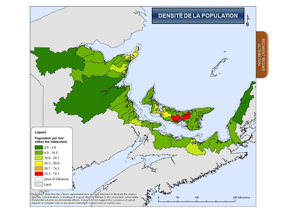 DENSITÉ DE LA POPULATION SEDIMENT REGIME ALTERATION