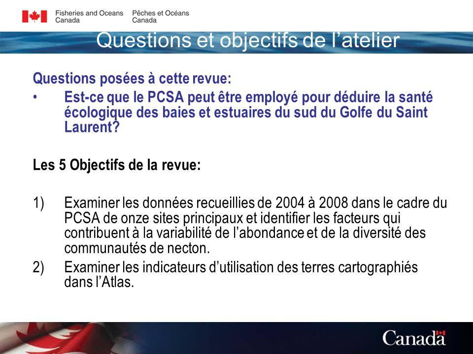 Questions posées à cette revue: Est-ce que le PCSA peut être employé pour déduire la santé écologique des baies et estuaires du sud du Golfe du Saint Laurent.