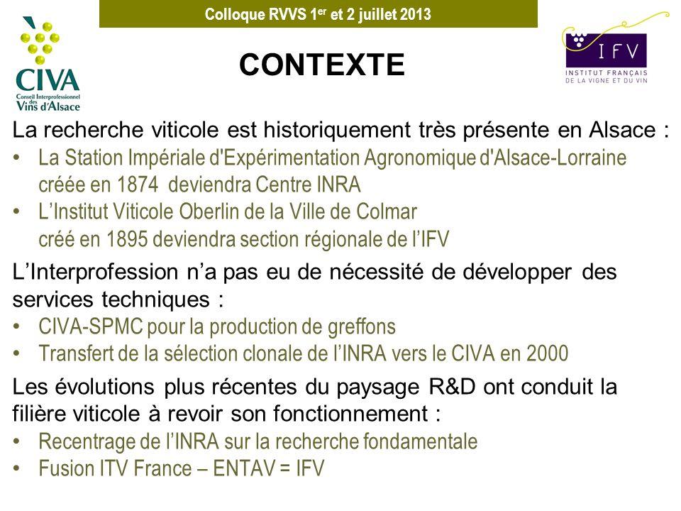 Colloque RVVS 1 er et 2 juillet 2013 La recherche viticole est historiquement très présente en Alsace : La Station Impériale d'Expérimentation Agronom