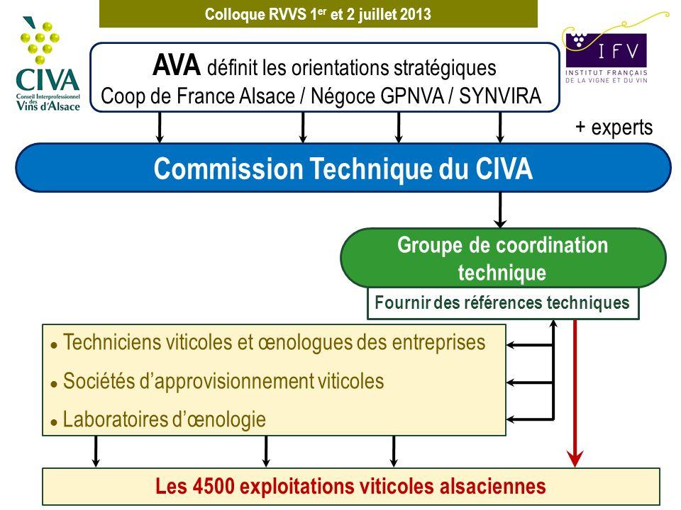 Colloque RVVS 1 er et 2 juillet 2013 + experts AVA définit les orientations stratégiques Coop de France Alsace / Négoce GPNVA / SYNVIRA Coordination de la recherche Association qui fédère sur le Biopôle de Colmar les acteurs scientifiques, académiques et professionnels en agronomie et viticulture Missions : l Lien entre la recherche et les acteurs des filières agricoles l Favoriser le montage de projets collaboratifs l Communication : faire connaître les savoirs faire l Animation Commission Technique du CIVA Groupe de coordination technique ALSACE VITAE poster
