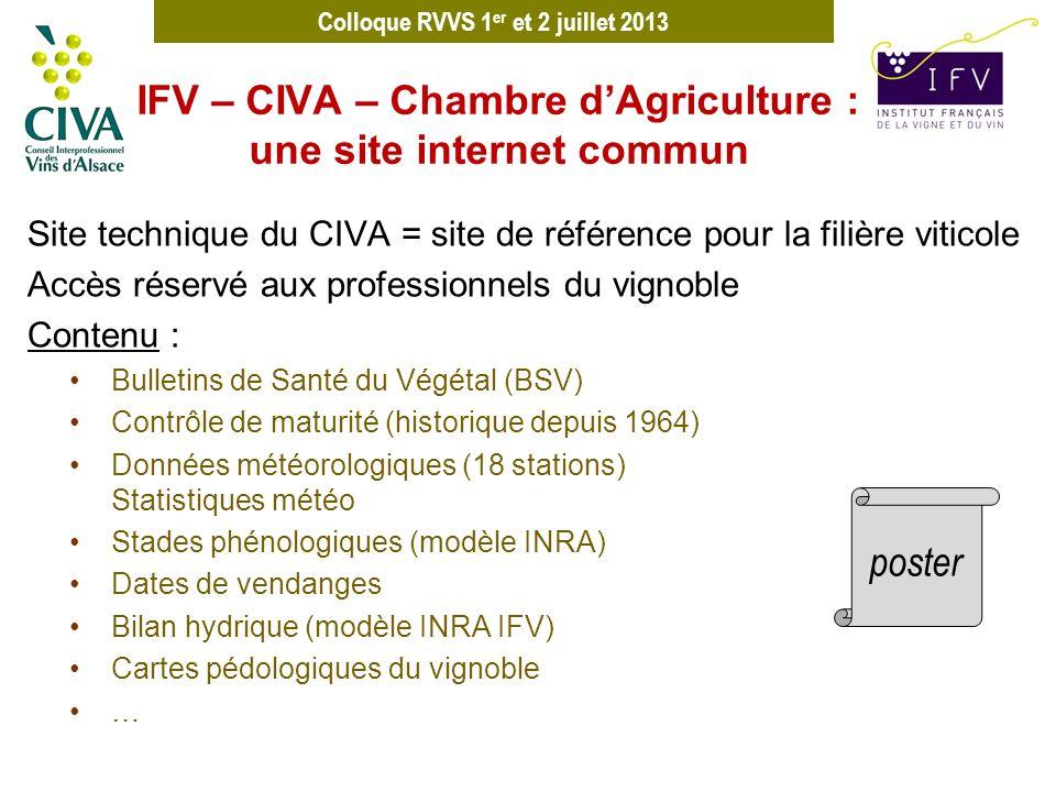 Colloque RVVS 1 er et 2 juillet 2013 Site internet CIVA Site technique du CIVA = site de référence pour la filière viticole Accès réservé aux professi