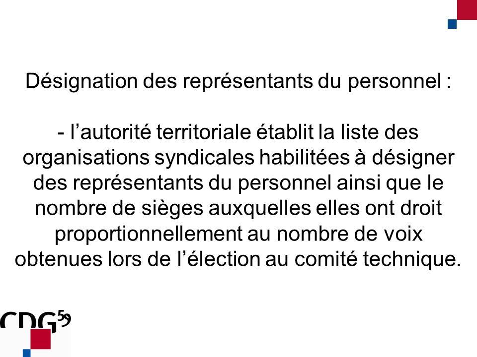 Désignation des représentants du personnel : - lautorité territoriale établit la liste des organisations syndicales habilitées à désigner des représen