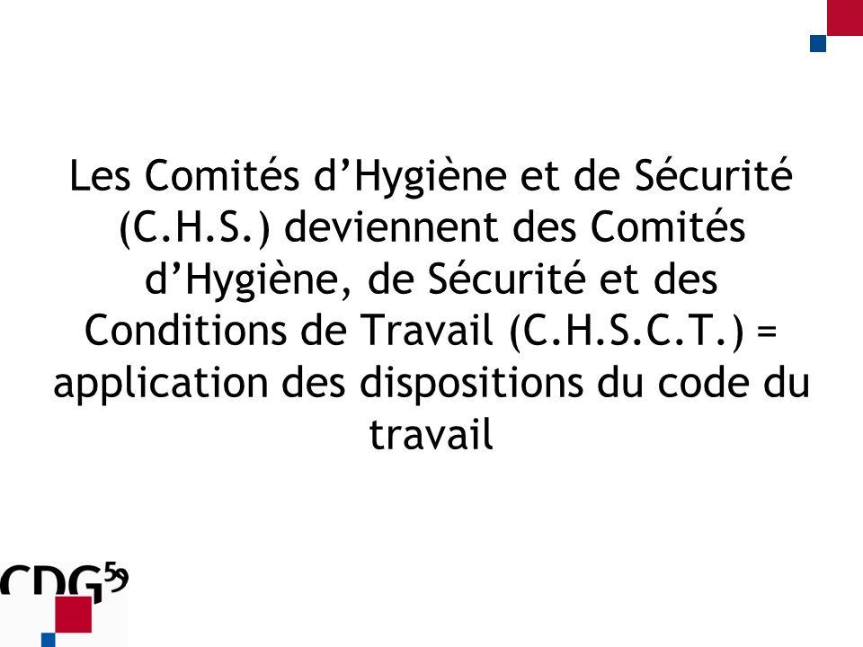 Les Comités dHygiène et de Sécurité (C.H.S.) deviennent des Comités dHygiène, de Sécurité et des Conditions de Travail (C.H.S.C.T.) = application des dispositions du code du travail