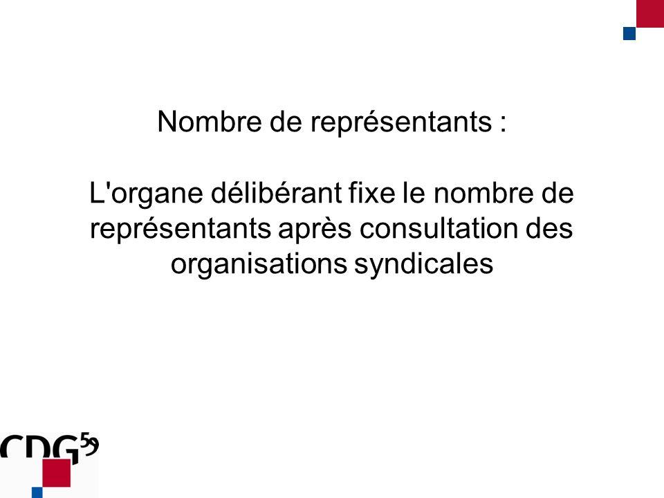 Nombre de représentants : L'organe délibérant fixe le nombre de représentants après consultation des organisations syndicales
