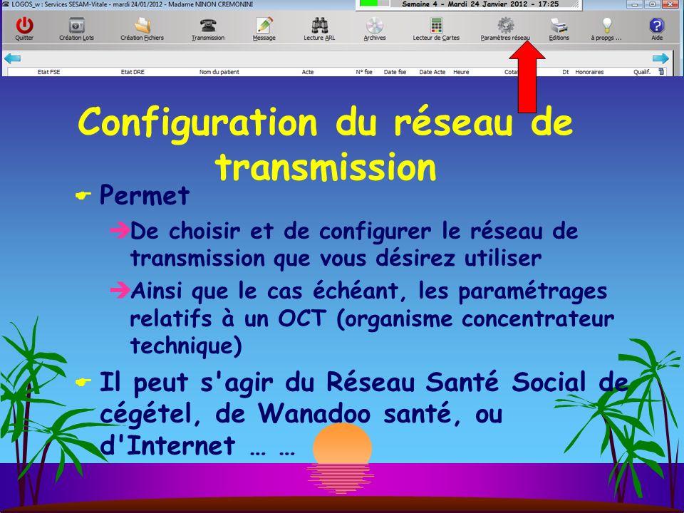 Configuration du réseau de transmission Permet De choisir et de configurer le réseau de transmission que vous désirez utiliser Ainsi que le cas échéant, les paramétrages relatifs à un OCT (organisme concentrateur technique) Il peut s agir du Réseau Santé Social de cégétel, de Wanadoo santé, ou d Internet … …