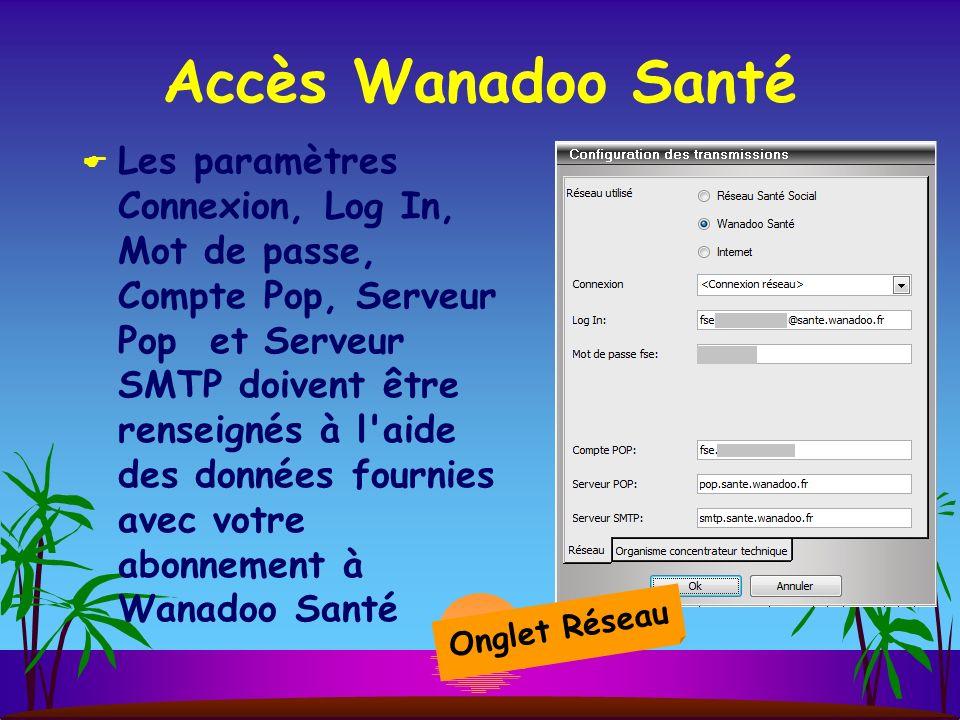 Accès Wanadoo Santé Les paramètres Connexion, Log In, Mot de passe, Compte Pop, Serveur Pop et Serveur SMTP doivent être renseignés à l aide des données fournies avec votre abonnement à Wanadoo Santé Onglet Réseau