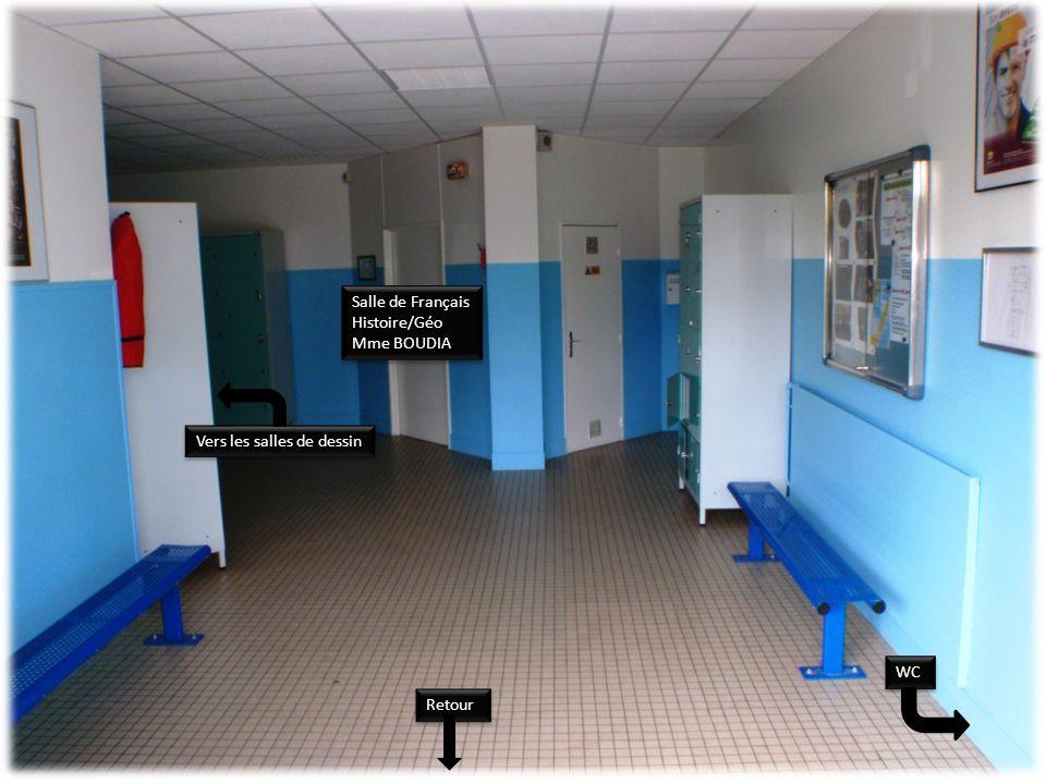 WC Salle de Français Histoire/Géo Mme BOUDIA Salle de Français Histoire/Géo Mme BOUDIA Vers les salles de dessin Retour