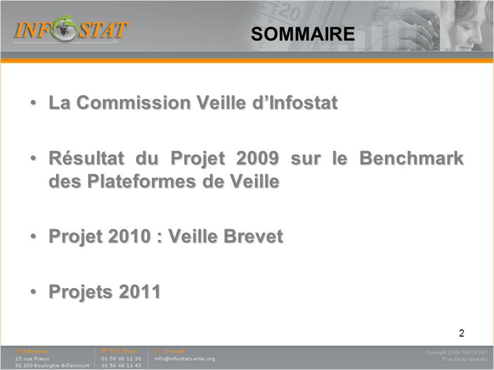 SOMMAIRE La Commission Veille dInfostatLa Commission Veille dInfostat Résultat du Projet 2009 sur le Benchmark des Plateformes de VeilleRésultat du Pr