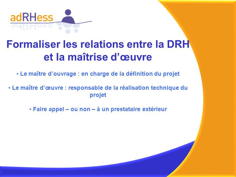 Formaliser les relations entre la DRH et la maîtrise dœuvre Le maître douvrage : en charge de la définition du projet Le maître dœuvre : responsable d