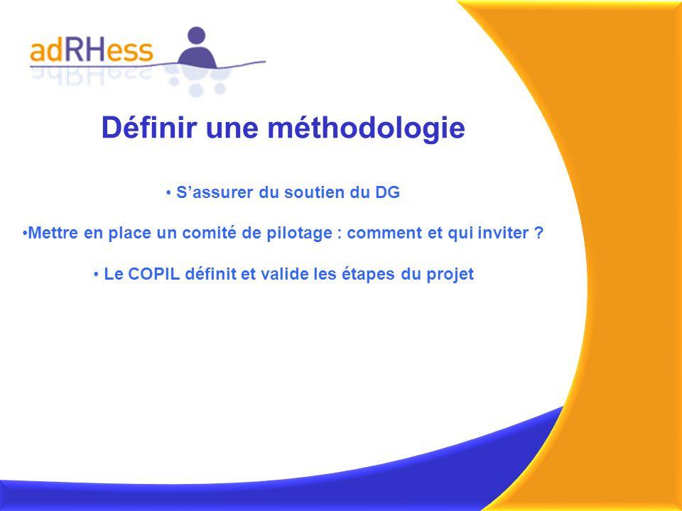 Définir une méthodologie Sassurer du soutien du DG Mettre en place un comité de pilotage : comment et qui inviter ? Le COPIL définit et valide les éta
