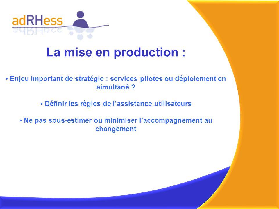 La mise en production : Enjeu important de stratégie : services pilotes ou déploiement en simultané ? Définir les règles de lassistance utilisateurs N