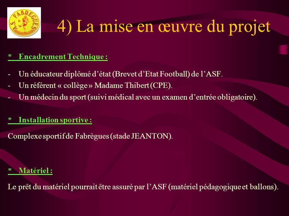 4) La mise en œuvre du projet *Encadrement Technique : -Un éducateur diplômé détat (Brevet dEtat Football) de lASF. -Un référent « collège » Madame Th