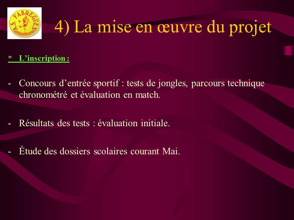 4) La mise en œuvre du projet *Linscription : -Concours dentrée sportif : tests de jongles, parcours technique chronométré et évaluation en match. -Ré