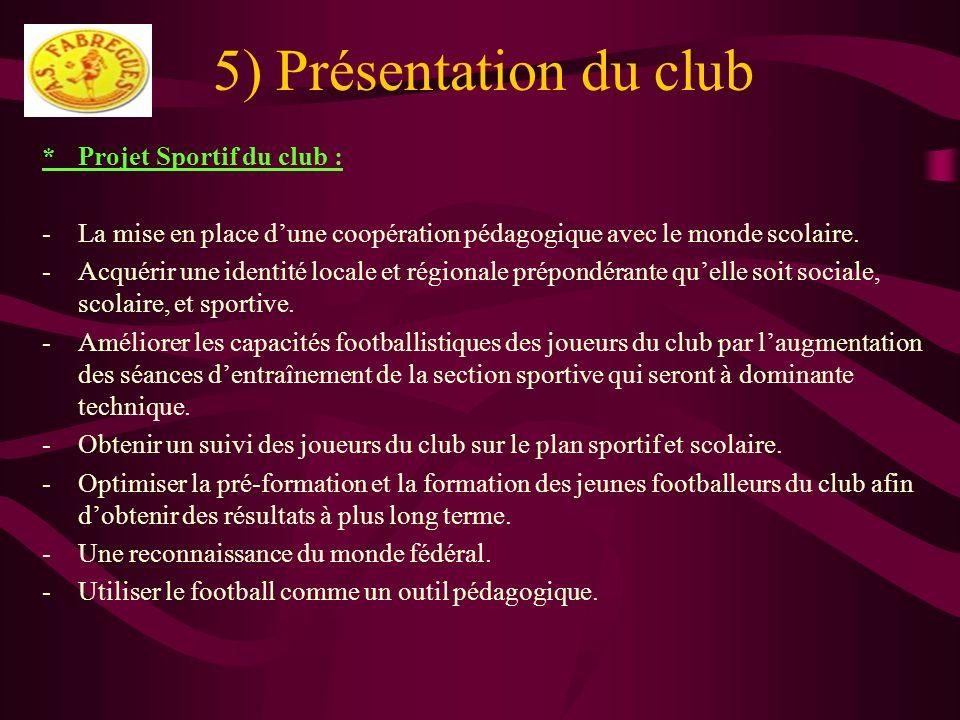 5) Présentation du club *Projet Sportif du club : -La mise en place dune coopération pédagogique avec le monde scolaire. -Acquérir une identité locale