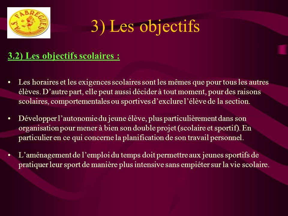 3) Les objectifs 3.2) Les objectifs scolaires : Les horaires et les exigences scolaires sont les mêmes que pour tous les autres élèves. Dautre part, e
