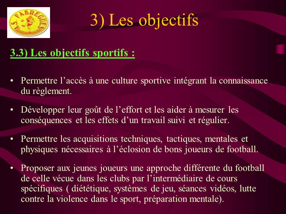 3) Les objectifs 3.3) Les objectifs sportifs : Permettre laccès à une culture sportive intégrant la connaissance du règlement. Développer leur goût de