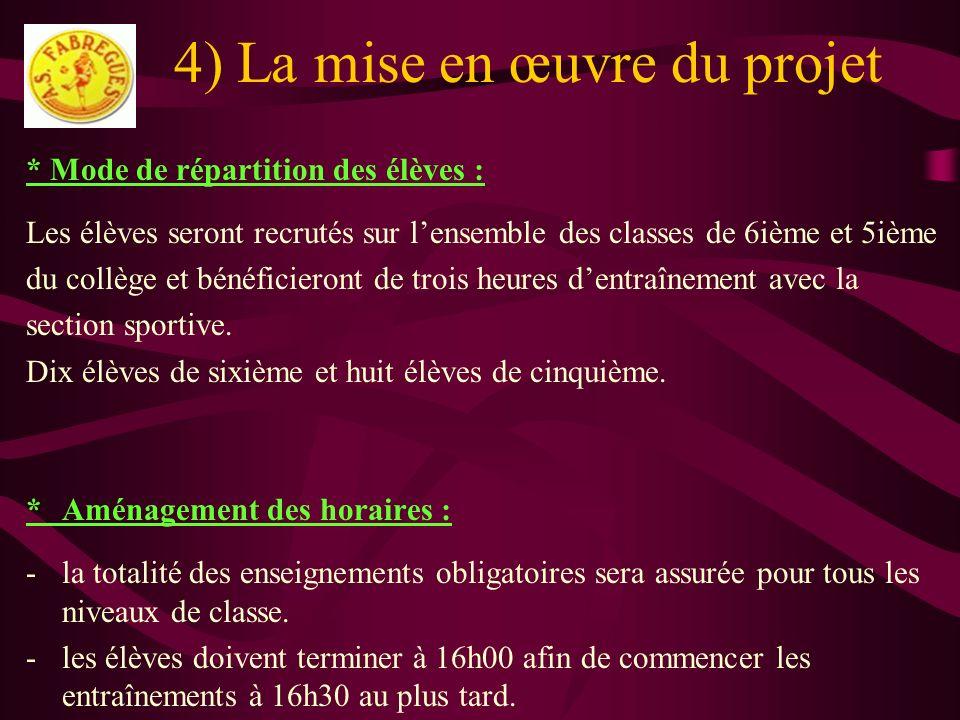 4) La mise en œuvre du projet * Mode de répartition des élèves : Les élèves seront recrutés sur lensemble des classes de 6ième et 5ième du collège et