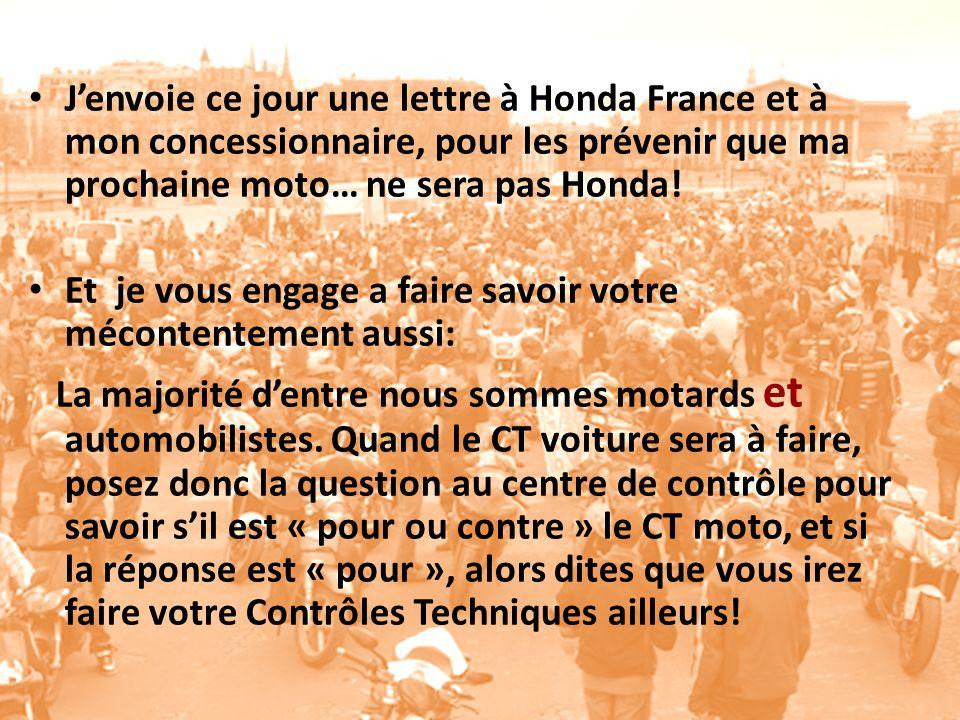 Jenvoie ce jour une lettre à Honda France et à mon concessionnaire, pour les prévenir que ma prochaine moto… ne sera pas Honda.