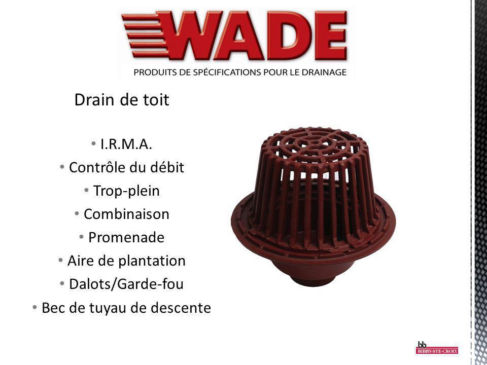 Drain de toit I.R.M.A. Contrôle du débit Trop-plein Combinaison Promenade Aire de plantation Dalots/Garde-fou Bec de tuyau de descente