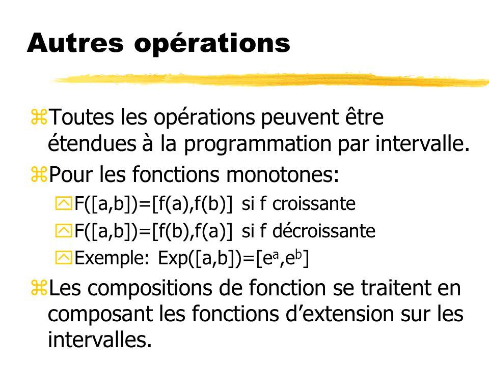 Autres opérations zToutes les opérations peuvent être étendues à la programmation par intervalle.