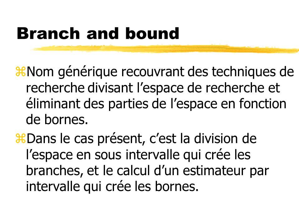 Branch and bound zNom générique recouvrant des techniques de recherche divisant lespace de recherche et éliminant des parties de lespace en fonction de bornes.