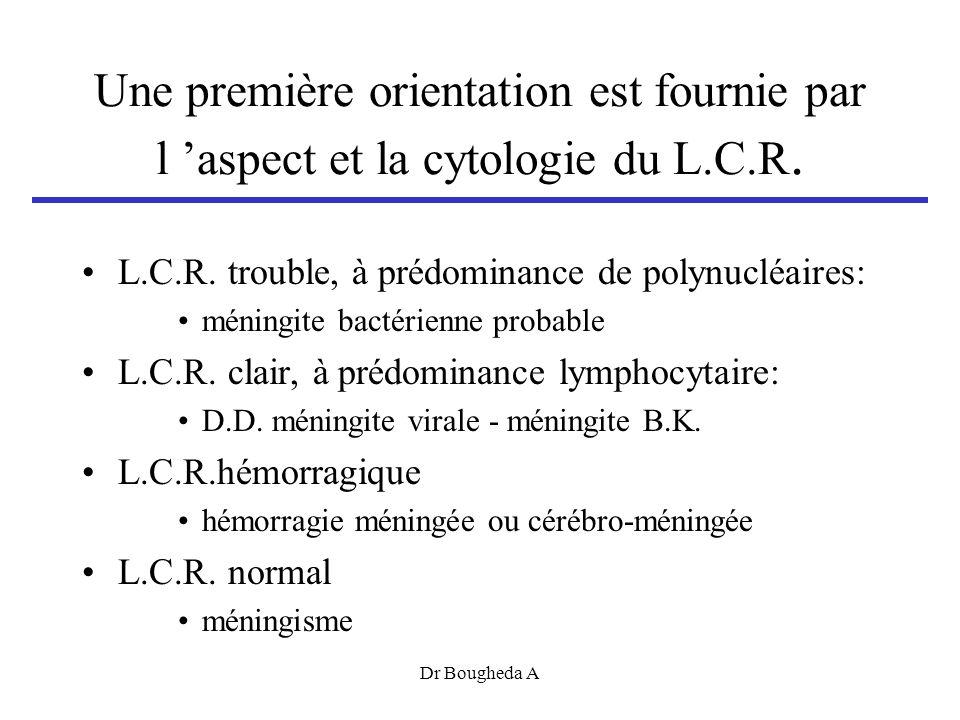 Une première orientation est fournie par l aspect et la cytologie du L.C.R.