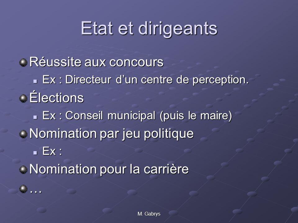 M.Gabrys Etat et dirigeants Réussite aux concours Ex : Directeur dun centre de perception.