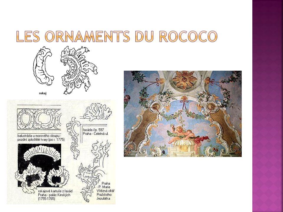 Robert de Cotte a commencé d´utiliser des motifs décoratifs qui ont développé dans des interieurs parisiens Au lieu des jardins francaises des jardins anglaises Les architectes Gabriel (la place de la Concorde ou le petit Trianon de Versailles), Soufflot (le Panthéon ) redécouvrent la symétrie et les formes géométriques simples