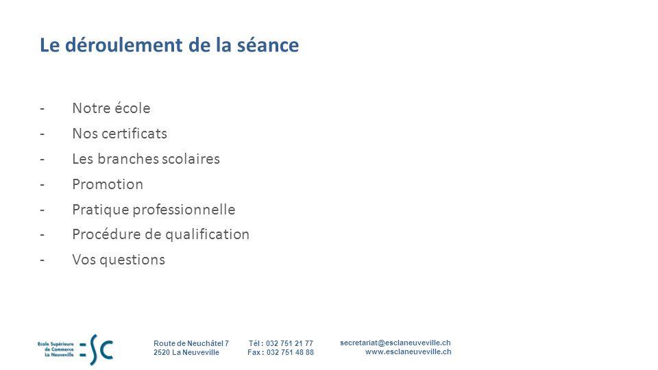secretariat@esclaneuveville.ch www.esclaneuveville.ch Tél : 032 751 21 77 Fax : 032 751 48 88 Route de Neuchâtel 7 2520 La Neuveville 2 Le déroulement de la séance -Notre école -Nos certificats -Les branches scolaires -Promotion -Pratique professionnelle -Procédure de qualification -Vos questions