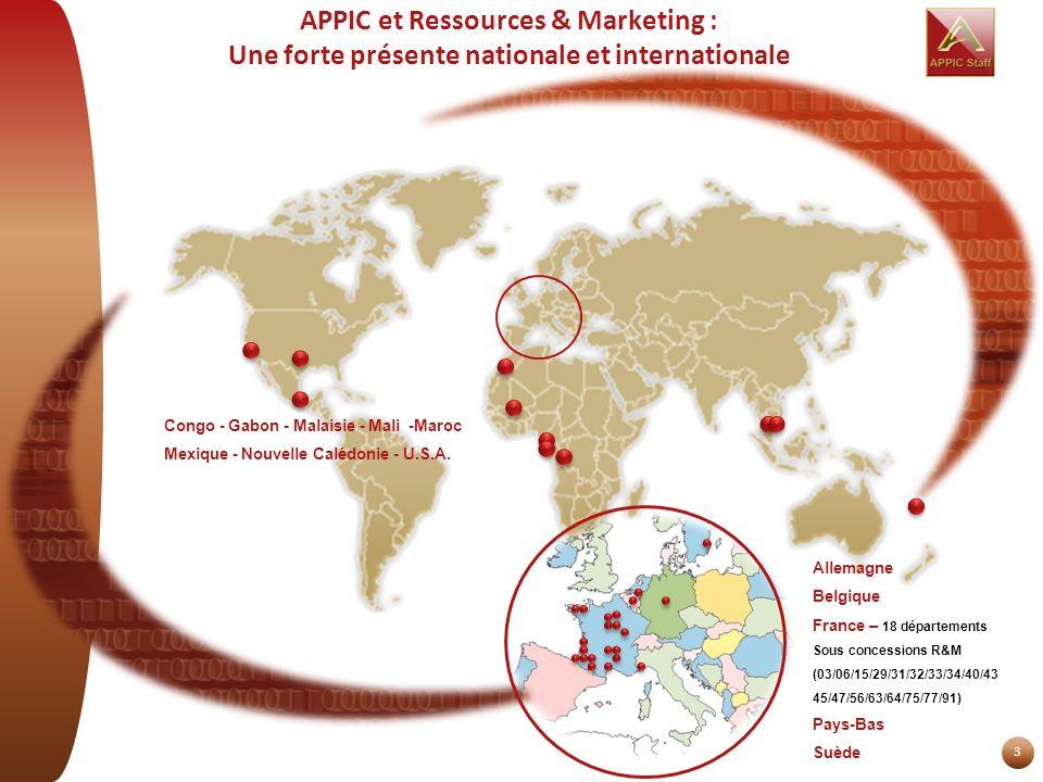 3 APPIC et Ressources & Marketing : Une forte présente nationale et internationale Congo - Gabon - Malaisie - Mali -Maroc Mexique - Nouvelle Calédonie