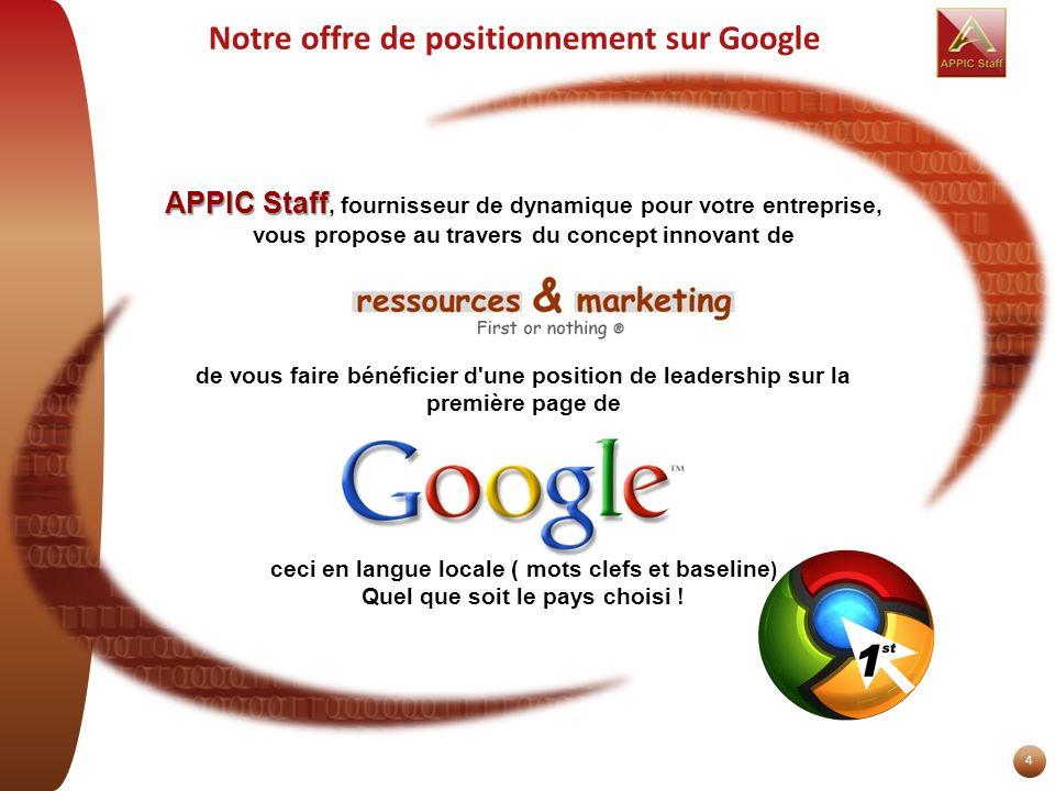 4 Notre offre de positionnement sur Google APPIC Staff APPIC Staff, fournisseur de dynamique pour votre entreprise, vous propose au travers du concept