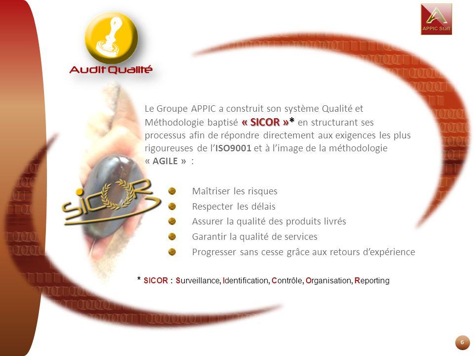 6 « SICOR »* Le Groupe APPIC a construit son système Qualité et Méthodologie baptisé « SICOR »* en structurant ses processus afin de répondre directem
