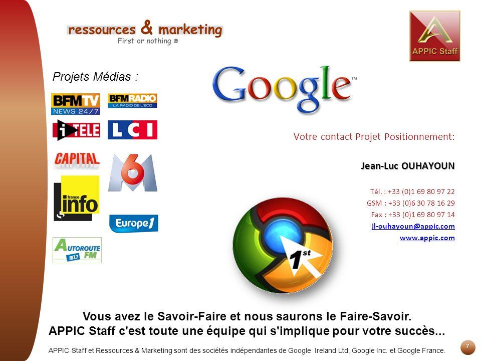 7 Votre contact Projet Positionnement: Jean-Luc OUHAYOUN Tél. : +33 (0)1 69 80 97 22 GSM : +33 (0)6 30 78 16 29 Fax : +33 (0)1 69 80 97 14 jl-ouhayoun