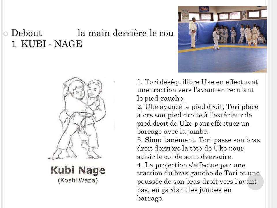 Debout la main derrière le cou 1_KUBI - NAGE Kub i- nag e 1. Tori déséquilibre Uke en effectuant une traction vers l'avant en reculant le pied gauche