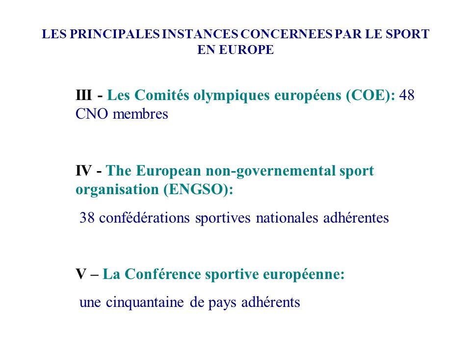 LES PRINCIPALES INSTANCES CONCERNEES PAR LE SPORT EN EUROPE III - Les Comités olympiques européens (COE): 48 CNO membres IV - The European non-governe