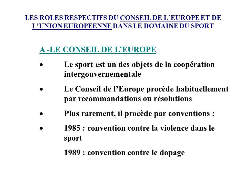 LES ROLES RESPECTIFS DU CONSEIL DE LEUROPE ET DE LUNION EUROPEENNE DANS LE DOMAINE DU SPORT A -LE CONSEIL DE LEUROPE Le sport est un des objets de la