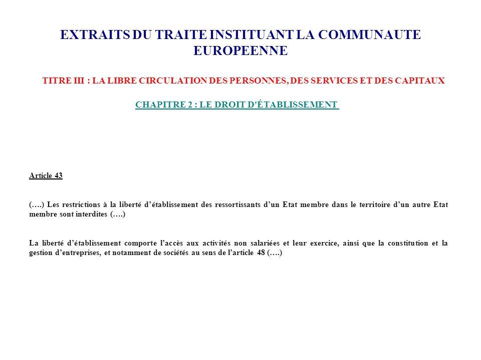 EXTRAITS DU TRAITE INSTITUANT LA COMMUNAUTE EUROPEENNE TITRE III : LA LIBRE CIRCULATION DES PERSONNES, DES SERVICES ET DES CAPITAUX CHAPITRE 2 : LE DR