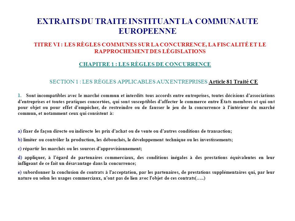 EXTRAITS DU TRAITE INSTITUANT LA COMMUNAUTE EUROPEENNE CHAPITRE 1 : LES RÈGLES DE CONCURRENCE 1. Sont incompatibles avec le marché commun et interdits