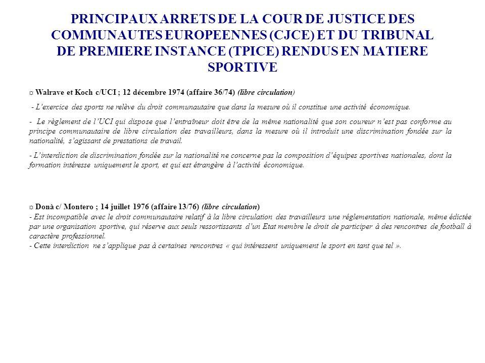 PRINCIPAUX ARRETS DE LA COUR DE JUSTICE DES COMMUNAUTES EUROPEENNES (CJCE) ET DU TRIBUNAL DE PREMIERE INSTANCE (TPICE) RENDUS EN MATIERE SPORTIVE ¤ Wa