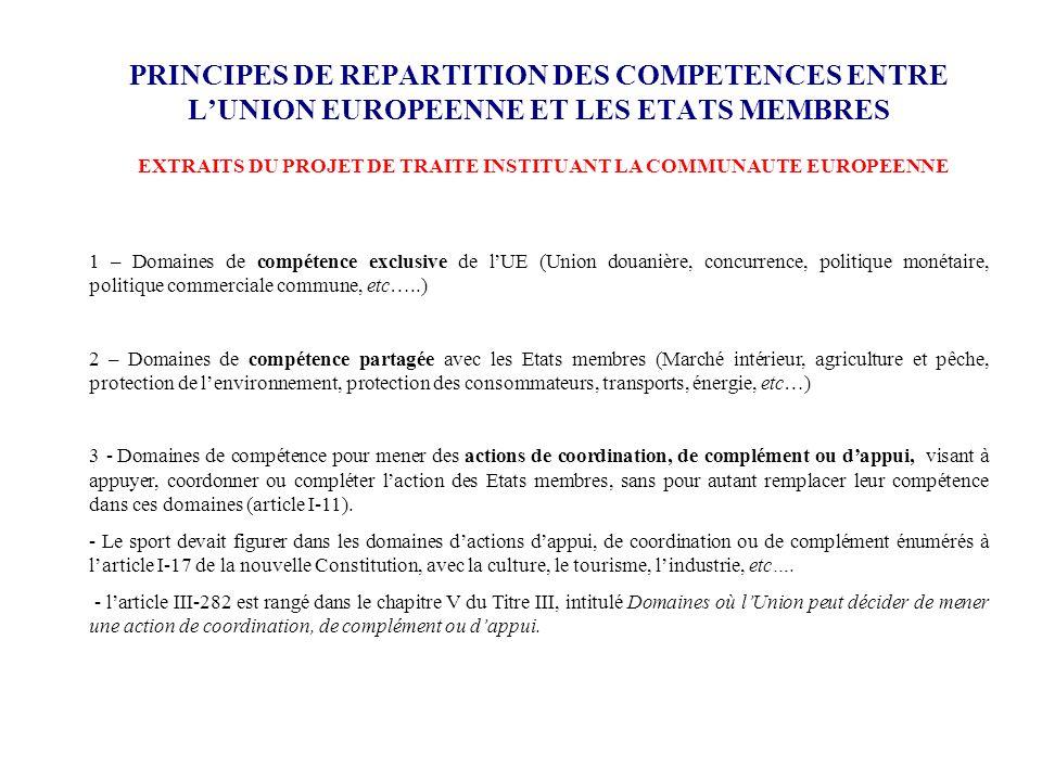 PRINCIPES DE REPARTITION DES COMPETENCES ENTRE LUNION EUROPEENNE ET LES ETATS MEMBRES 1 – Domaines de compétence exclusive de lUE (Union douanière, co