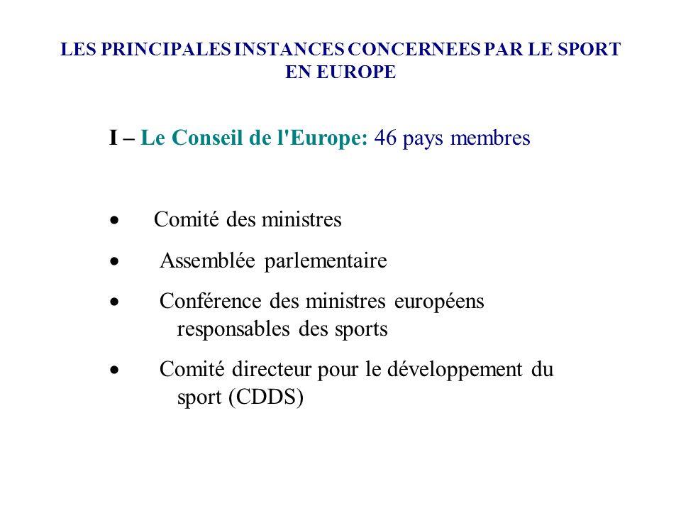 LES PRINCIPALES INSTANCES CONCERNEES PAR LE SPORT EN EUROPE I – Le Conseil de l'Europe: 46 pays membres Comité des ministres Assemblée parlementaire C