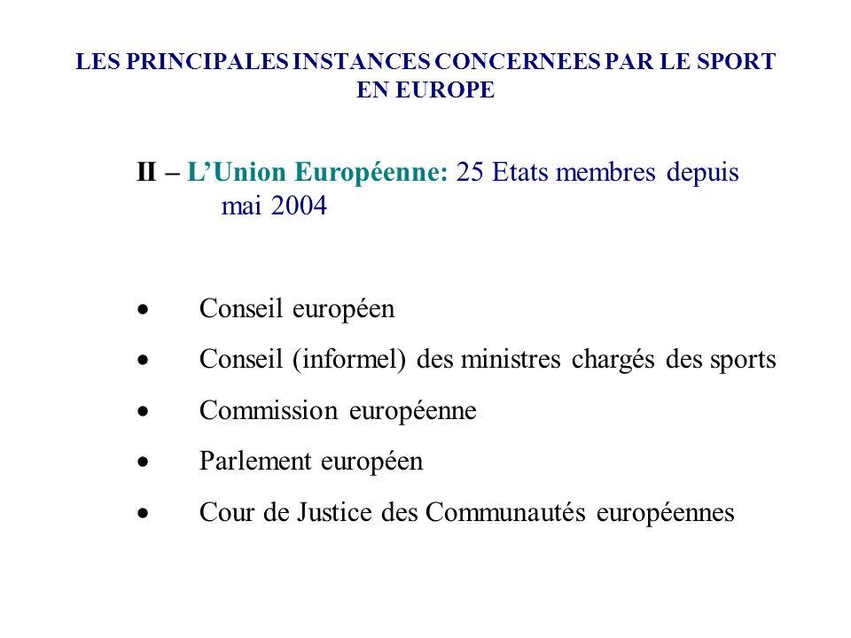 LES PRINCIPALES INSTANCES CONCERNEES PAR LE SPORT EN EUROPE II – LUnion Européenne: 25 Etats membres depuis mai 2004 Conseil européen Conseil (informe