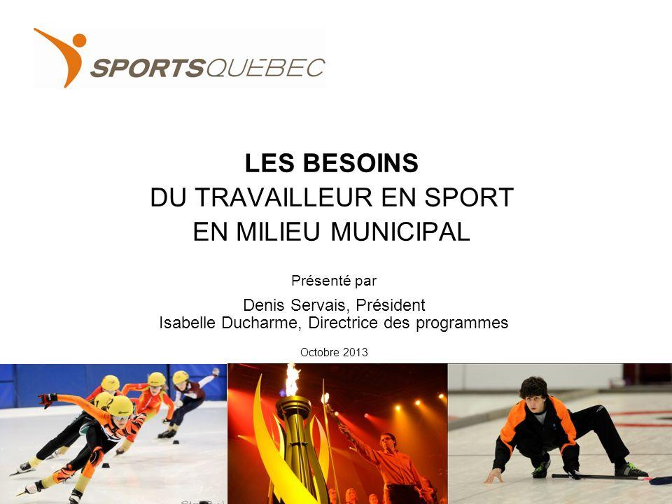 LES BESOINS DU TRAVAILLEUR EN SPORT EN MILIEU MUNICIPAL 1 Présenté par Denis Servais, Président Isabelle Ducharme, Directrice des programmes Octobre 2013