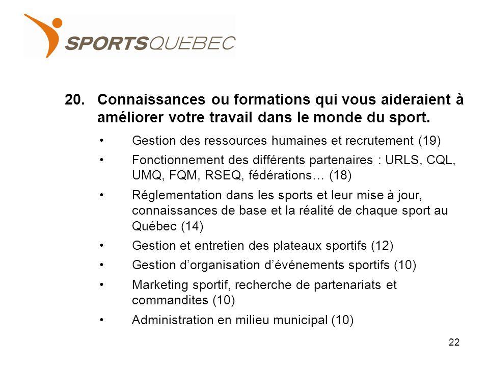 20.Connaissances ou formations qui vous aideraient à améliorer votre travail dans le monde du sport.
