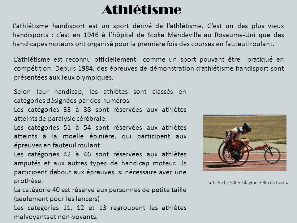 Athlétisme Lathlétisme handisport est un sport dérivé de lathlétisme. Cest un des plus vieux handisports : cest en 1946 à lhôpital de Stoke Mandeville